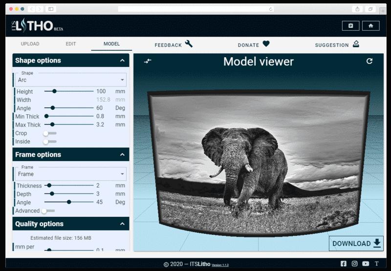 itslitho image to lithophane elephant preview model