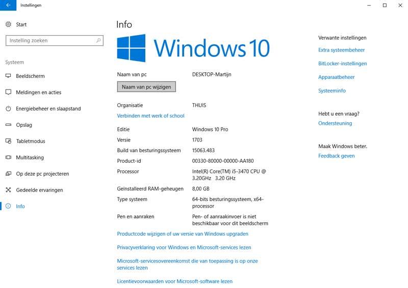 In dit scherm kun de computernaam van Windows 10 wijzigen.