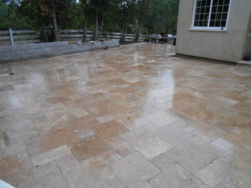 Beautiful travertine pation installed in East Bay Area, San Ramon,