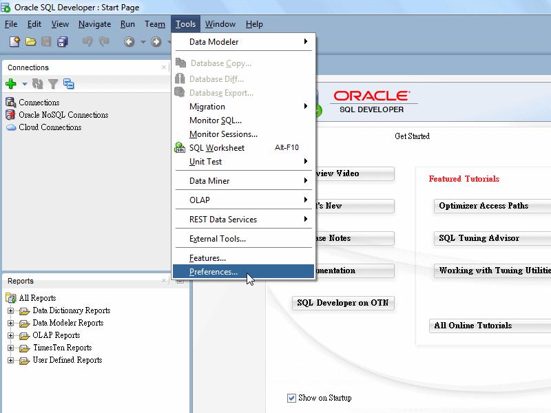 SQL Developer - Tools Menu