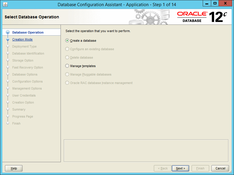 Oracle DBCA 12.2 - Step 01