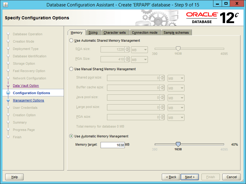 Oracle DBCA 12.2 - Step 09