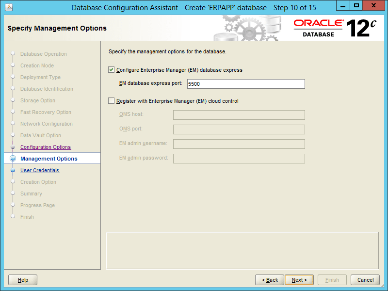 Oracle DBCA 12.2 - Step 10