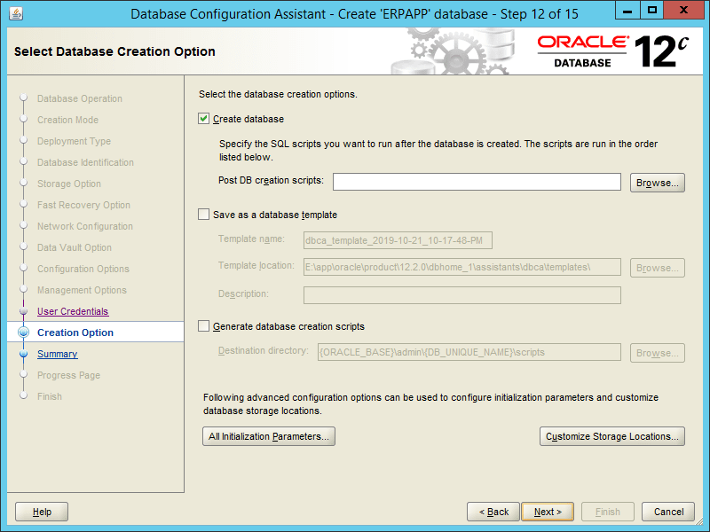 Oracle DBCA 12.2 - Step 12
