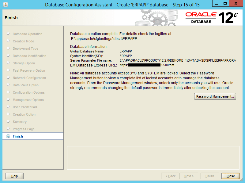 Oracle DBCA 12.2 - Step 15
