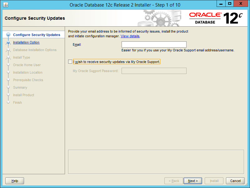 Oracle 12.2 OUI - Step 01