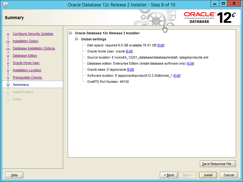 Oracle 12.2 OUI - Step 08