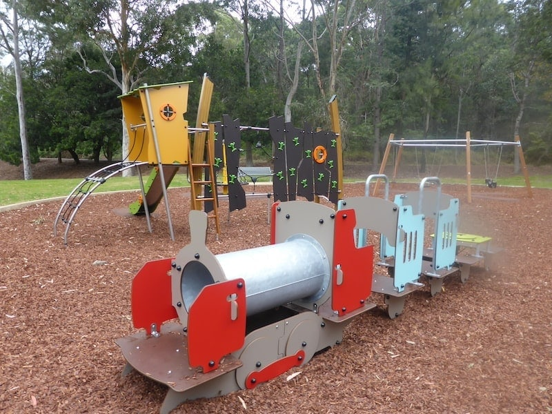 There's a surprisingly large number of things to do at Jesmond Park. Whether you feel like visiting a playground, having a picnic, going on a bushwalk or playing a game of frisbee golf, you can do it all at Jesmond Park. There's actually two playgrounds featuring swings, climbing equipment, climbing wall, slides and and a small train for little kids to climb on. With all the activities available in this park, it's very popular on weekends and there's often birthday parties and other celebrations happening.