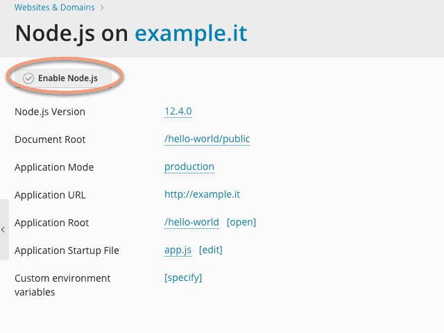 Enable Node.js