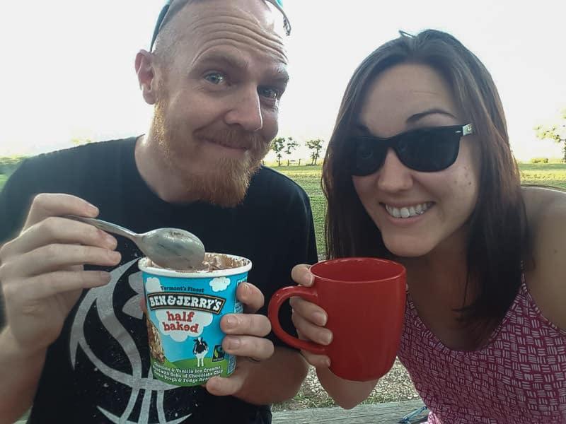 Buddy eating ice cream and Brooke enjoying some wine