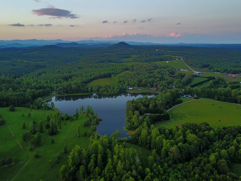 Aerial view of lake on the Chattooga Belle Farm property