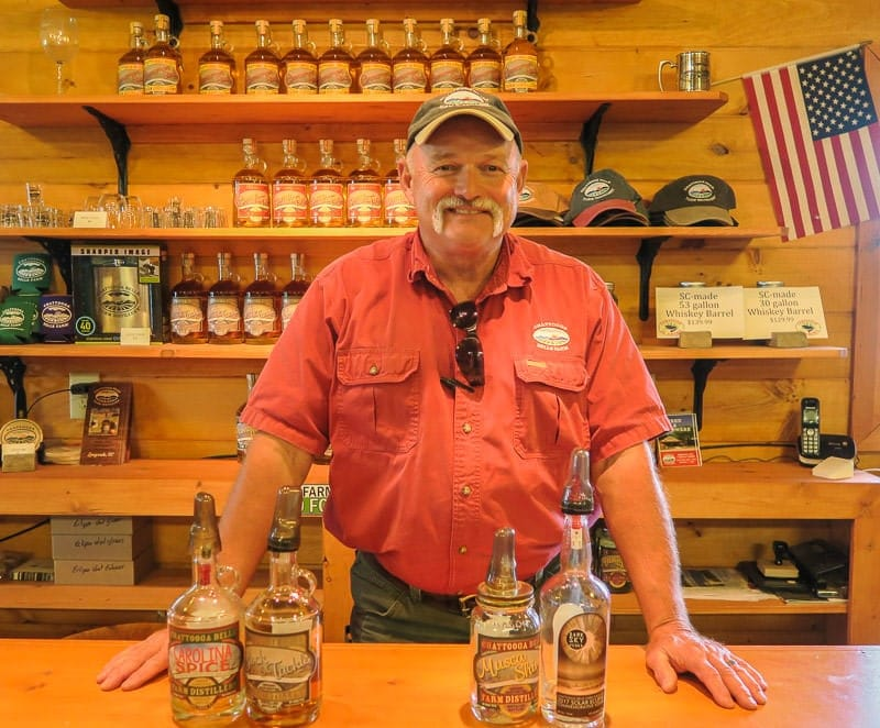 Ed and some brandy, whiskey and vodka he made at this great South Carolina Distillery