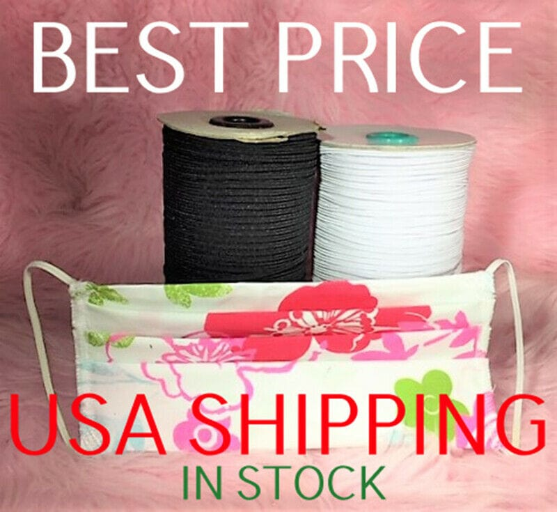"1/8"" Mask Elastic 3MM white or Black USA STOCK"