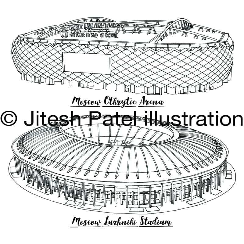 2018 Russia World Cup Stadium Map illustration Jitesh Patel