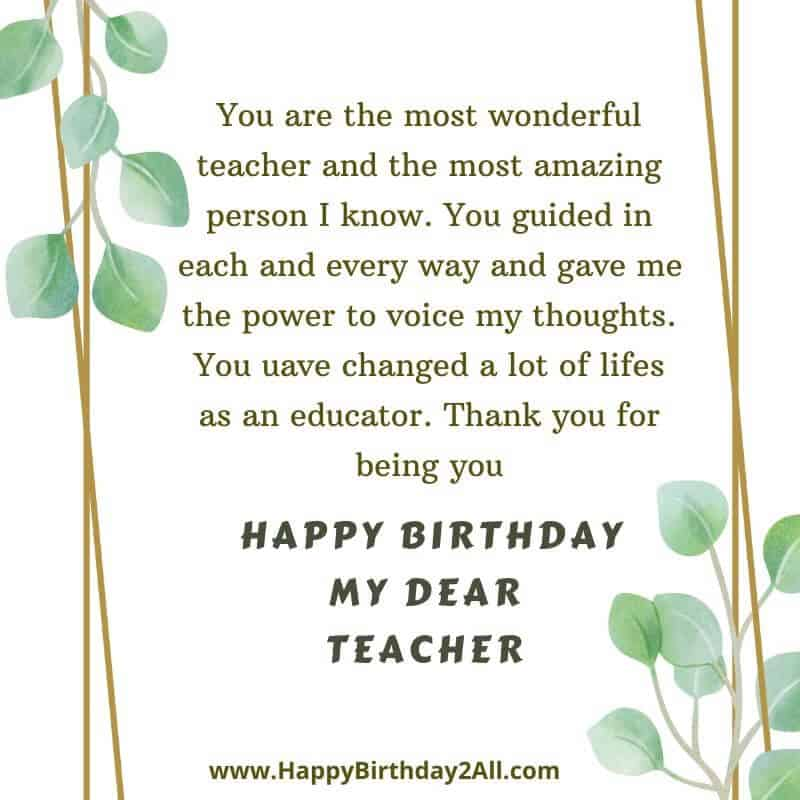 HAPPY BIRTHDAY MY DEAR TEACHER