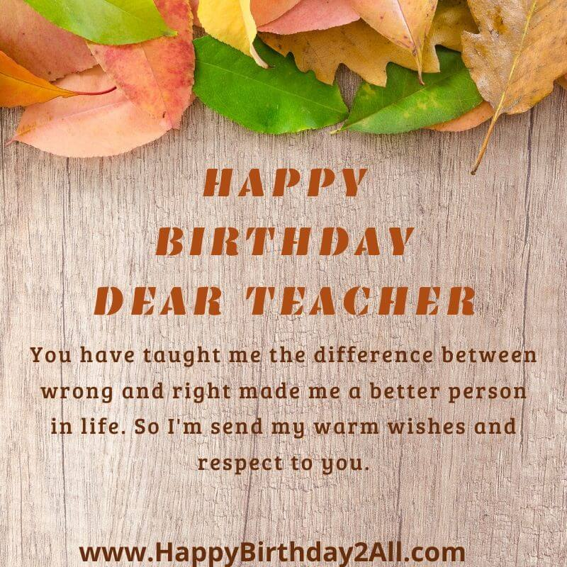 happy birthday DEAR TEACHER