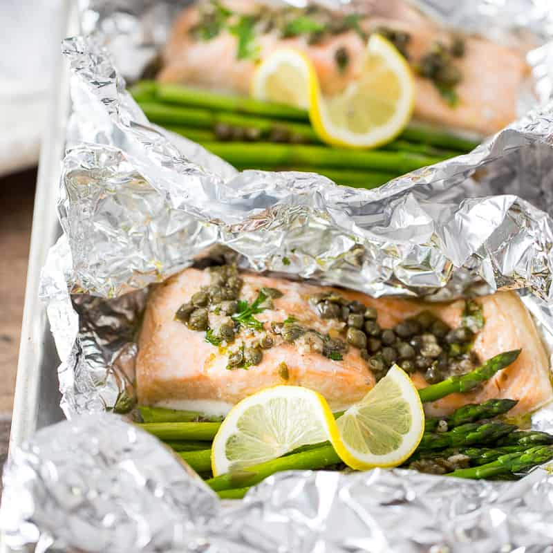 salmon foil packets with asparagus