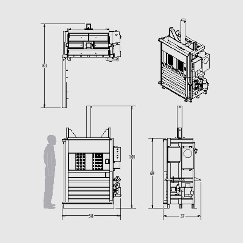 Plan technique - Presse verticale à carton, papier, recyclage IBV0410 HE - Industek
