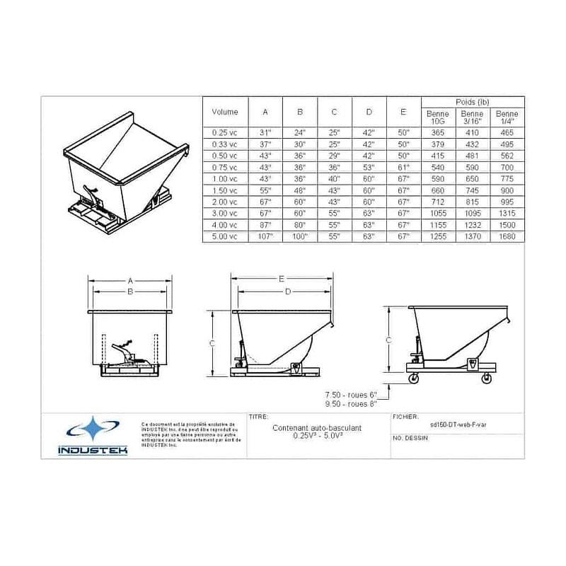 Plan technique - Conteneur auto-basculant 0.25 vc à 5 vc - Industek