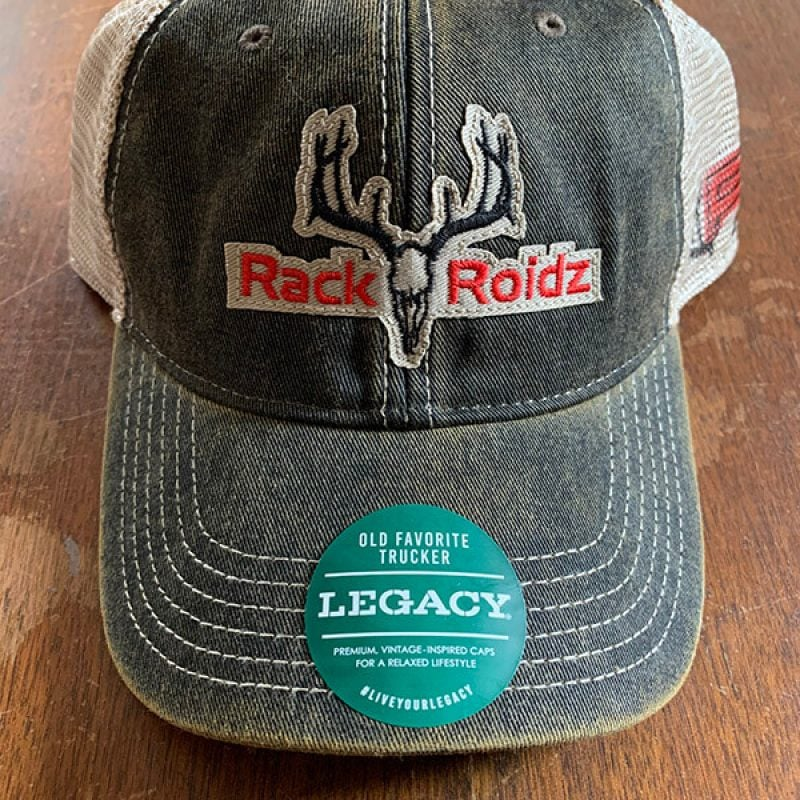 Rack Roidz black Legacy Trucker mesh back snap back hat