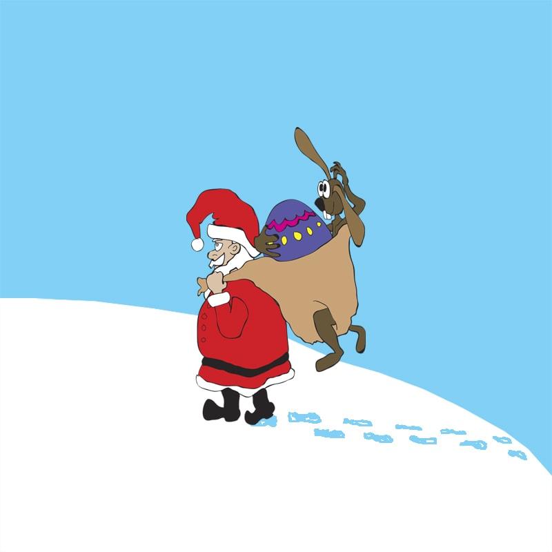 Illustration - Weihnachtsmann hat Osterhasen im Sack