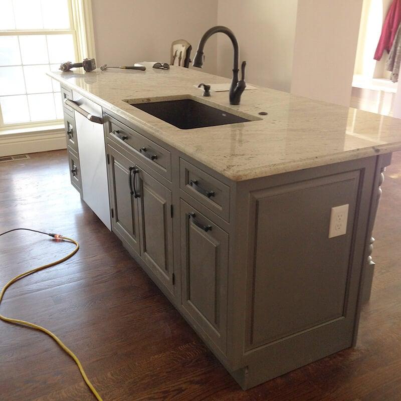 A kitchen island in remodel of kitchen in Denver