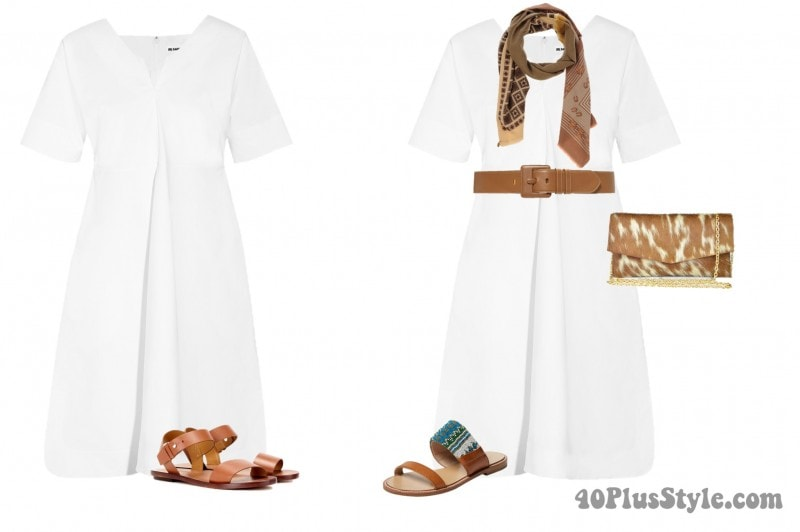 white shirtdress leather belt brown pony hair clutch | 40plusstyle.com