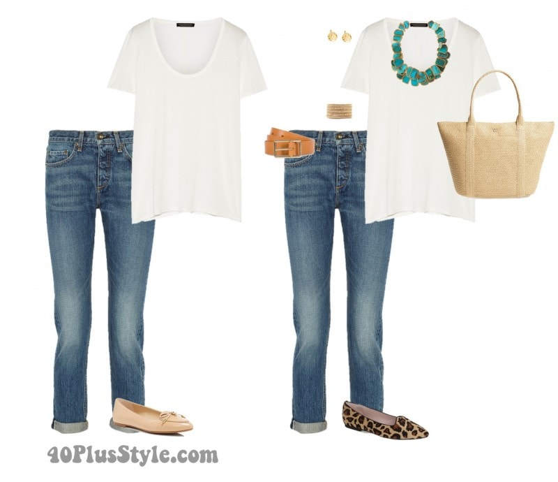 blue jeans white tee turquoise necklace