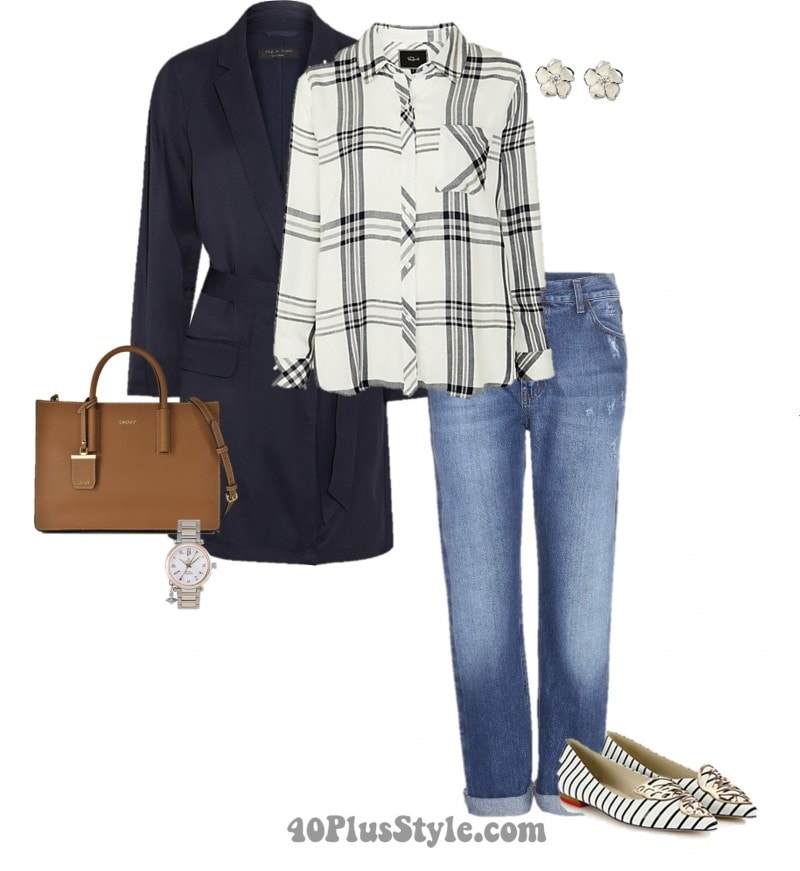 errands look plaid top pointed toe flats | 40plusstyle.com