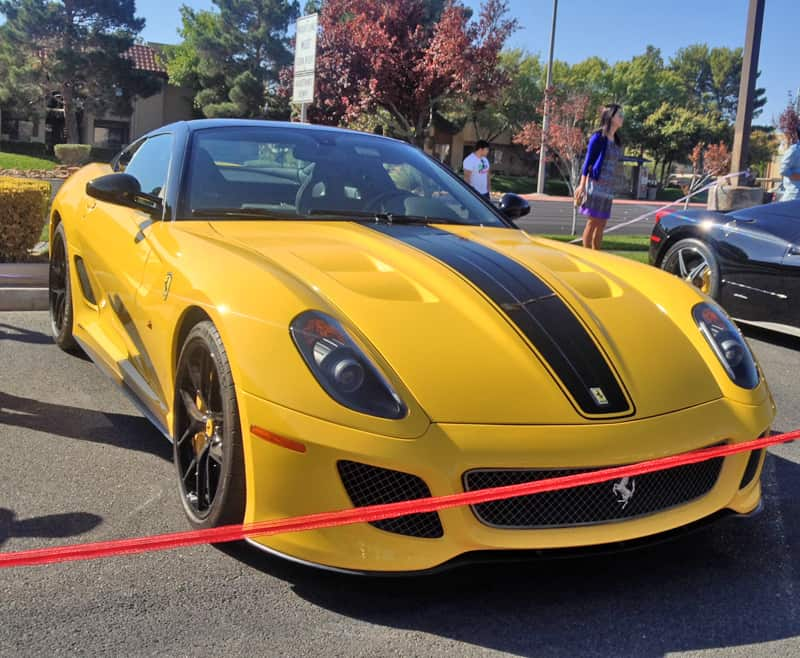 Yellow Ferrari 599 at Italian Sports Car Day 2013. Las Vegas, NV.