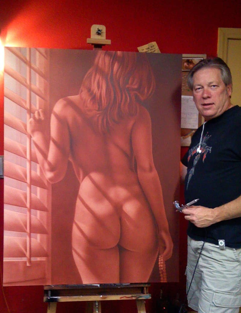 A.D. Cook with finished Ardor painting featuring Liz Ashley