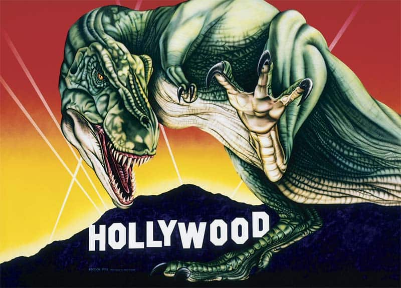 T-REX VISITS HOLLYWOOD wall mural by A.D. Cook for Hollywood Video