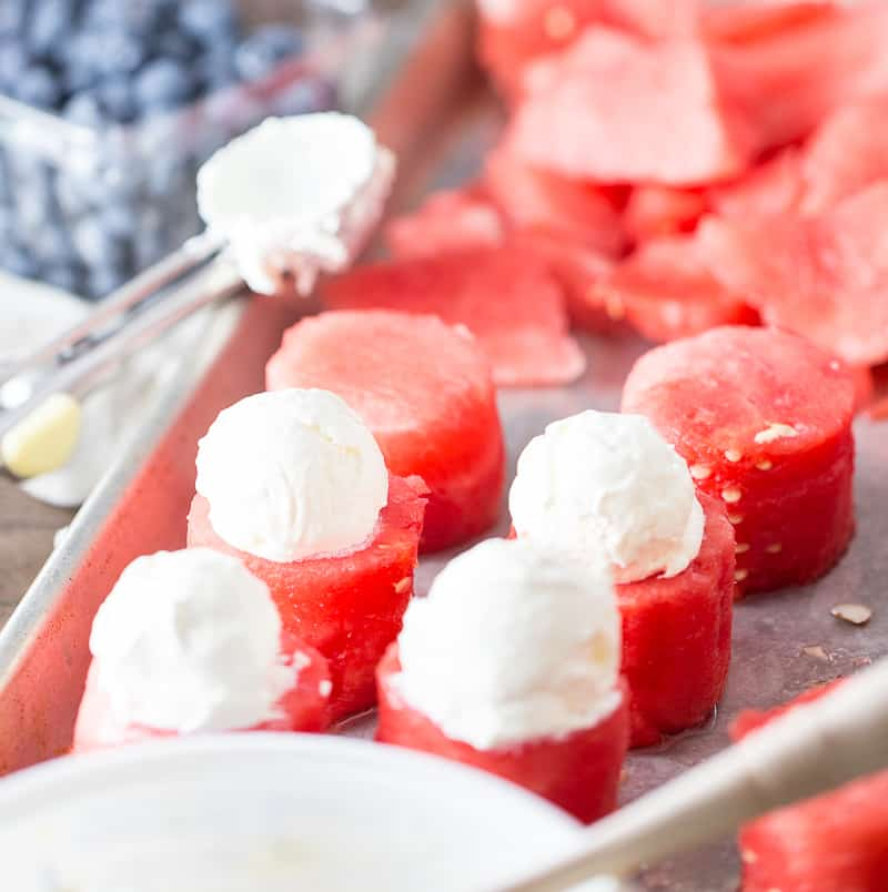 Watermelon Topped with Whipped Cream