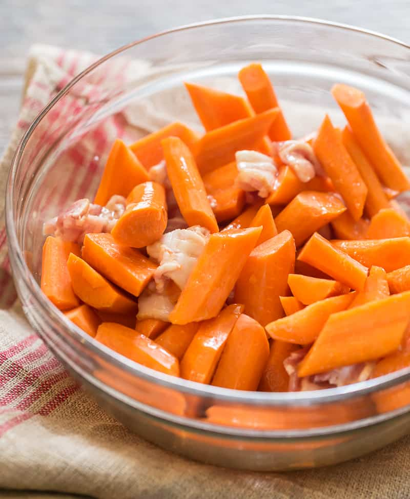 maple roasted carrots ready to coat in maple