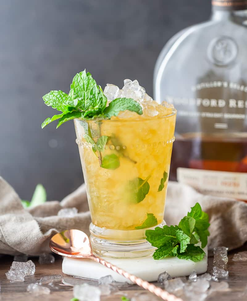 Classic Mint Julep Recipe in glass julep cup