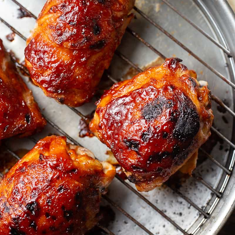 Baked BBQ Chicken Thighs from Overhead