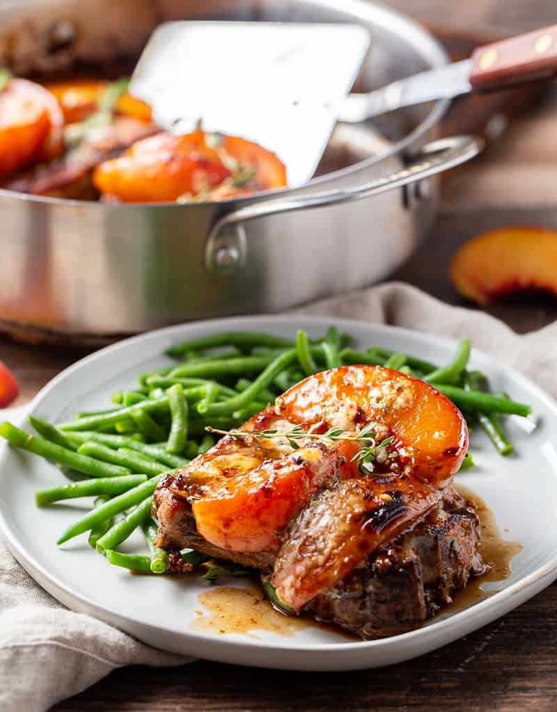 Balsamic Pork Chops with Peaches and Gorgonzola and Green Beans