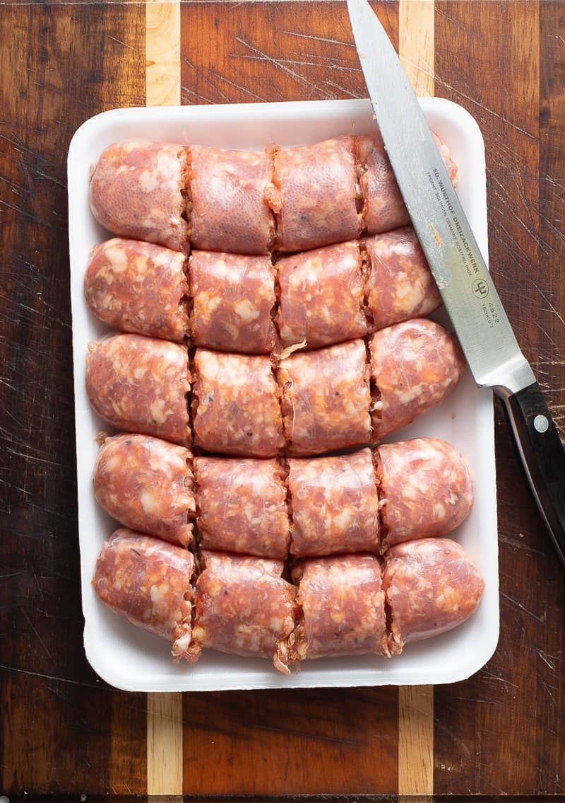 cut up italian sausage