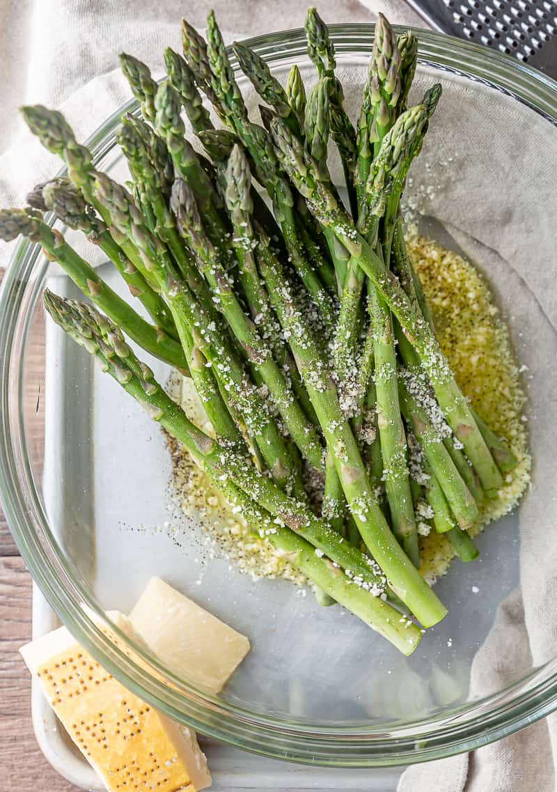 asparagus tossed with parmesan