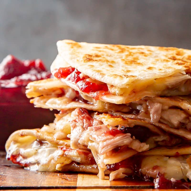 turkey cranberry brie quesadillas