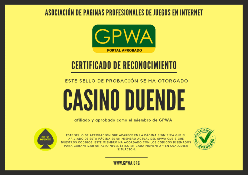 certificado aprobación de gpwa de casino duende
