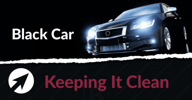 A black car with flashing lights
