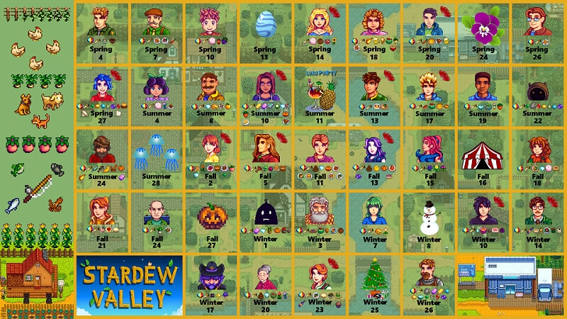 stardew valley events all the most important dates. Black Bedroom Furniture Sets. Home Design Ideas