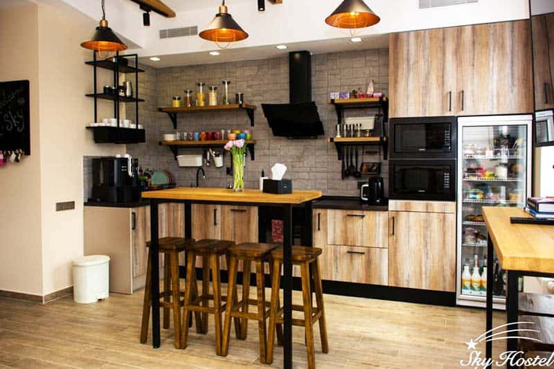 Prepare your own meals at the kitchen at Sky Hostel