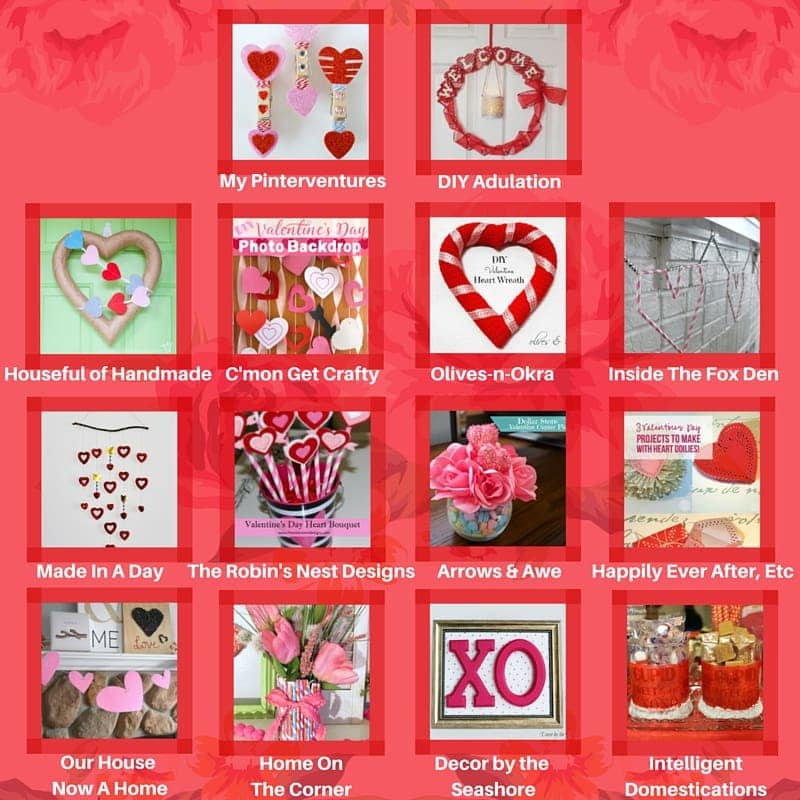 Join 14 fabulous bloggers for a Valentine's Day blog hop! Each blogger has created a craft with items from the dollar store! Great for a budget. | Housefulofhandmade.com