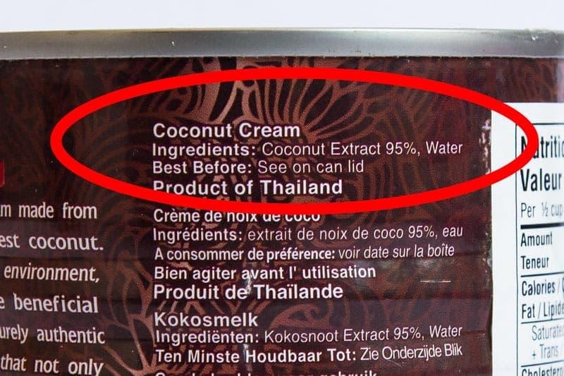 Coconut Cream Ingredients