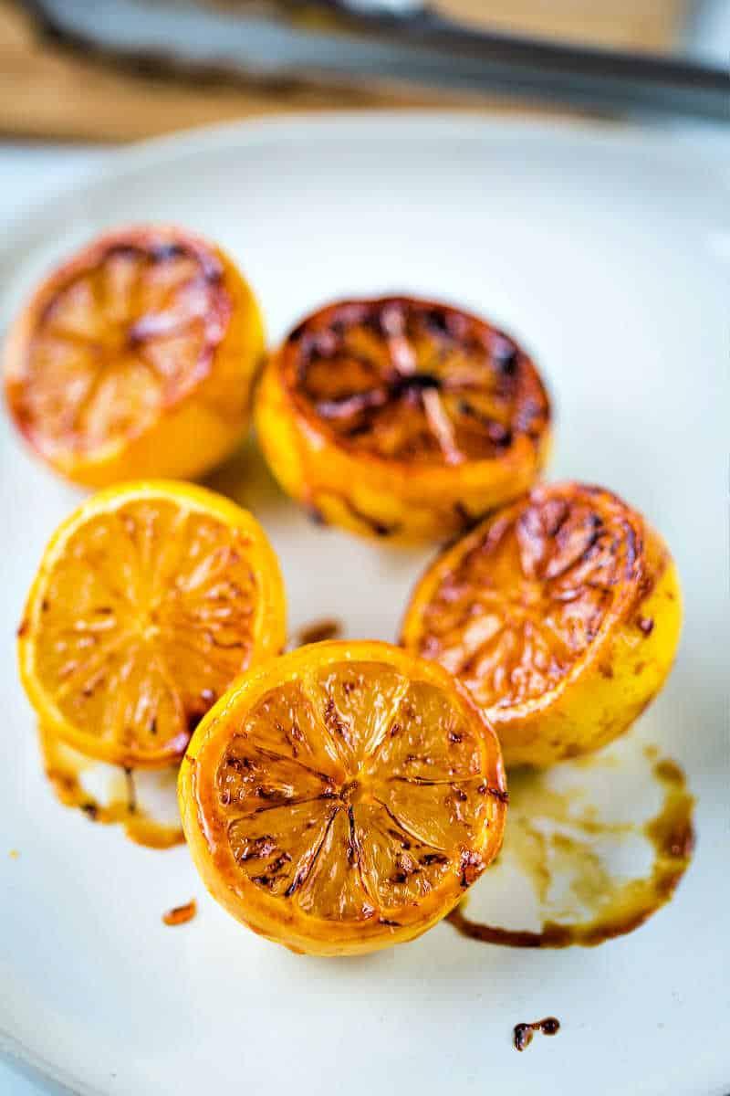 caramelized lemon halves on a plate