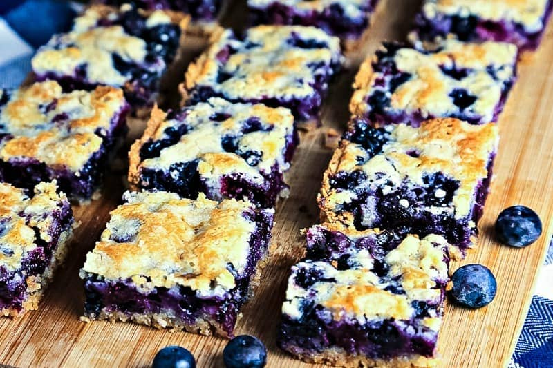 blueberry bars cut into squares