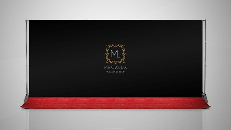 Megalux Photo Booth Rental - Step and Repeat Backdrop w/ company logo
