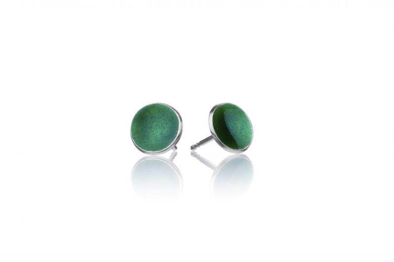 Miniplaneter, håndlaget ørepynt med gressgrønn emalje